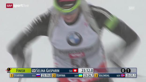 Video «Biathlon: Selina Gasparin gewinnt sensationell in Hochfilzen» abspielen