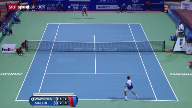 Video «Tennis: ATP in Chennai, Viertelfinal: Wawrinka - Muller» abspielen
