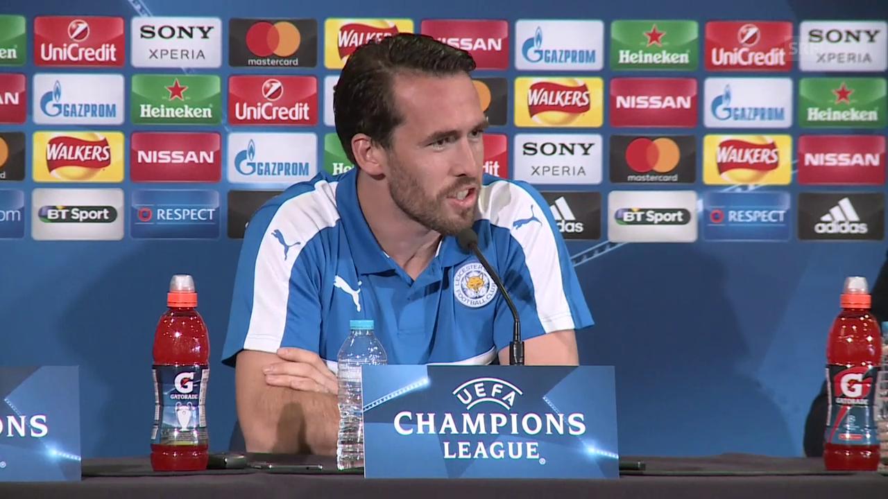 Shakespeare und Fuchs vor dem Spiel gegen Atletico (engl., SNTV)
