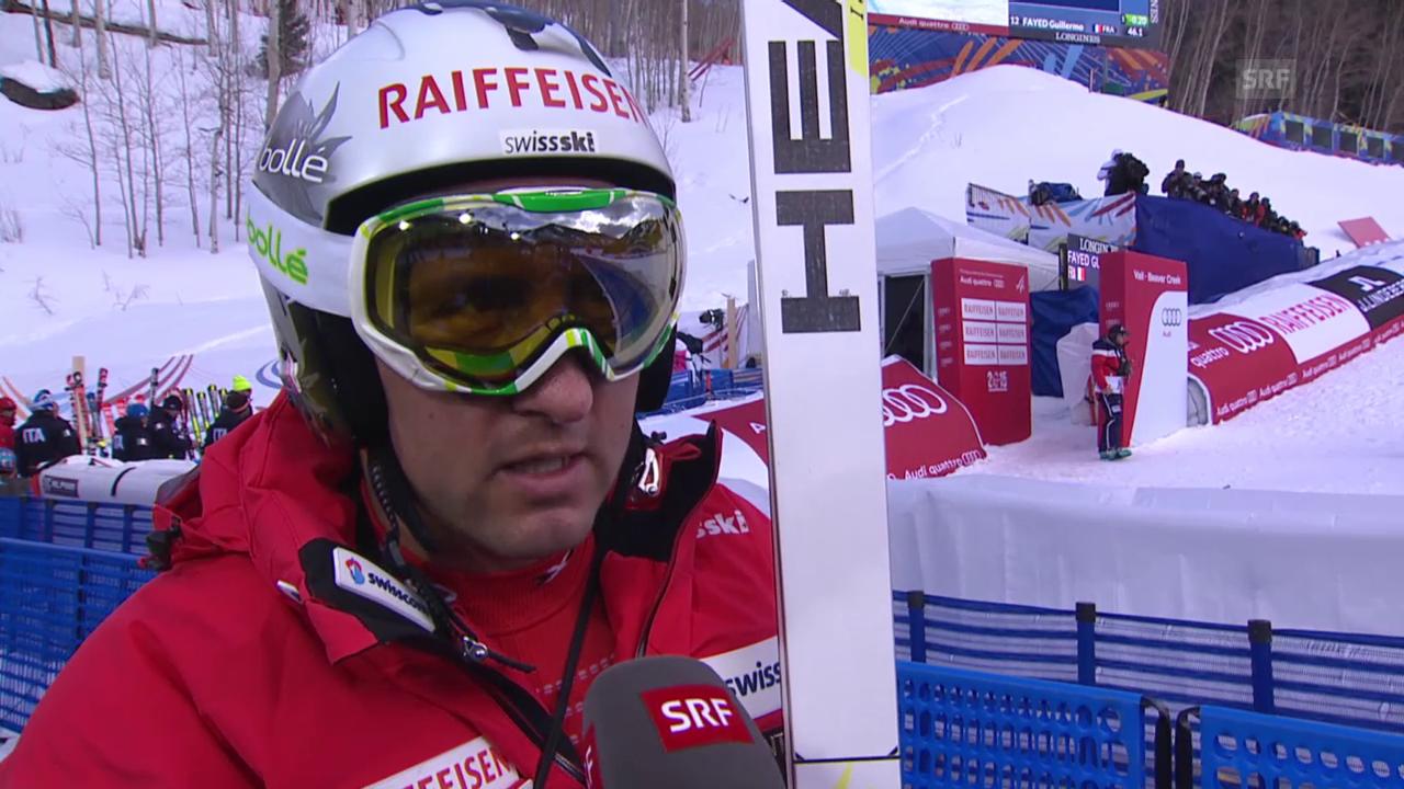 Ski: WM, Silvan Zurbriggen Interview nach 1. Training Abfahrt