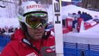 Video «Ski: WM, Silvan Zurbriggen Interview nach 1. Training Abfahrt» abspielen