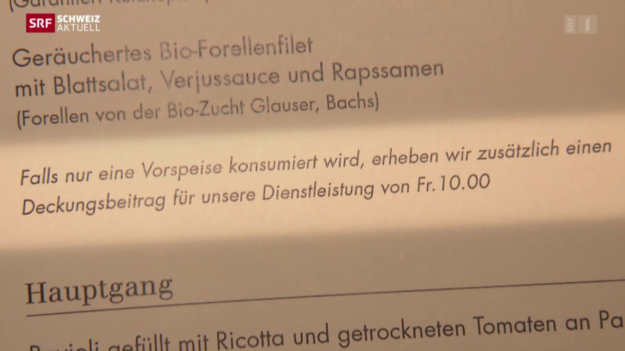 Strafgebühr in Zürcher Restaurant