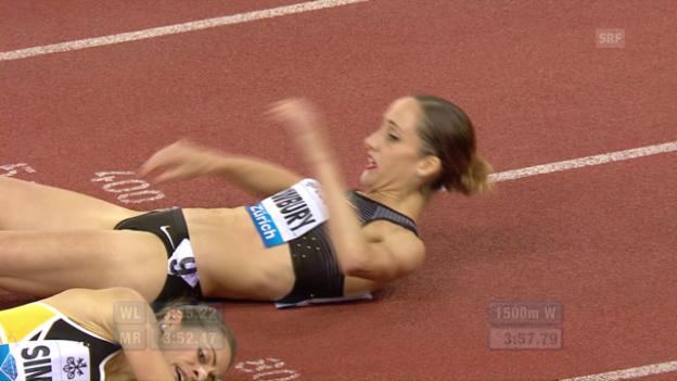 Video «1500-m-Rennen der Frauen: Sturz ins Ziel» abspielen