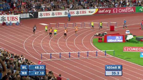 Video «Leichtathletik: Weltklasse Zürich, 400 m Hürden Männer» abspielen