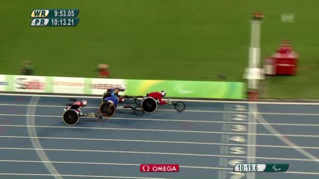 Video «Marcel Hug gewinnt seinen Vorlauf über 5000 m» abspielen