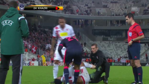 Video «Fussball: Europa League, Bordeax-Sion, Ausraster von Khazri» abspielen