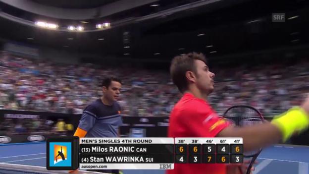 Video «Raonic verwertet den ersten Matchball gegen Wawrinka» abspielen