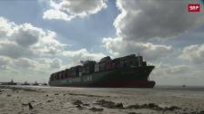 Link öffnet eine Lightbox. Video Chinesisches Containerschiff bleibt in Belgien stecken abspielen