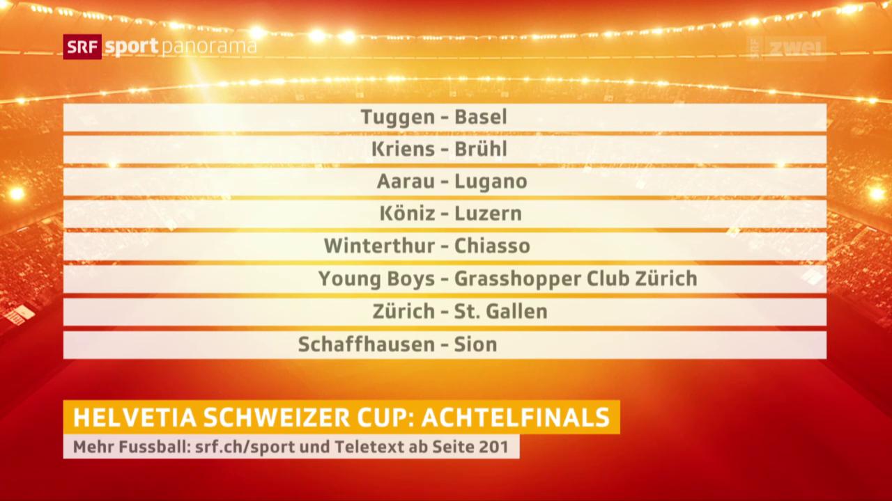 Fussball, Schweizer Cup: Auslosung der Achtelfinals