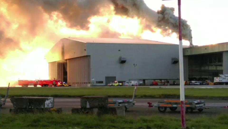 Feuer im Flughafen von Dublin (ohne Ton)