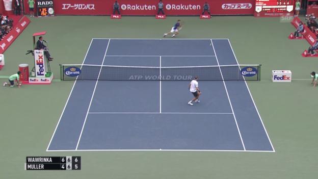 Video «Tennis: ATP Tokio 2015, Halbfinal, Wawrinka-Muller» abspielen