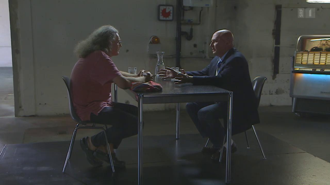 Liedermacher Linard Bardill trifft Milieuanwalt Valentin Landmann