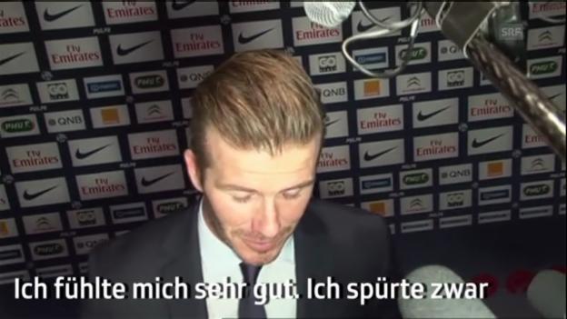 Video «Beckham nach seinem ersten Spiel mit Paris St-Germain.» abspielen