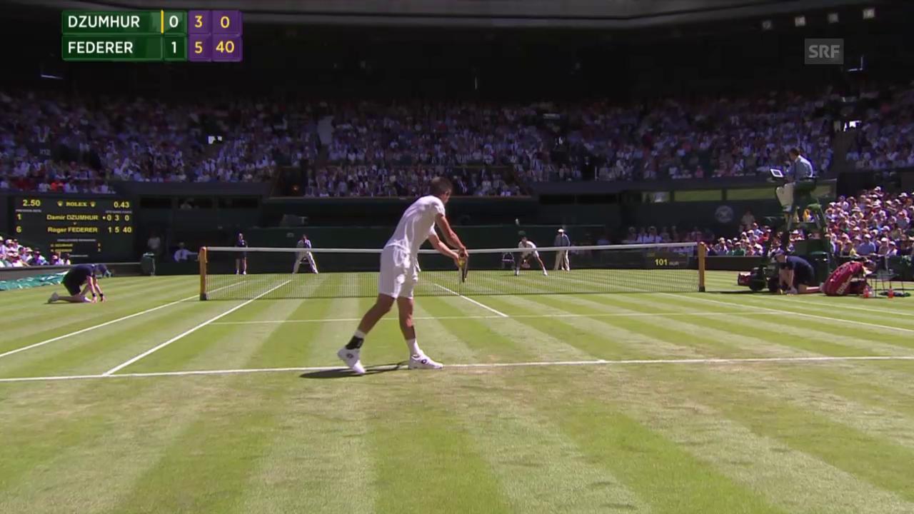 Tennis: Wimbledon, Federer - Dzumhur, 2. Satzball Federer