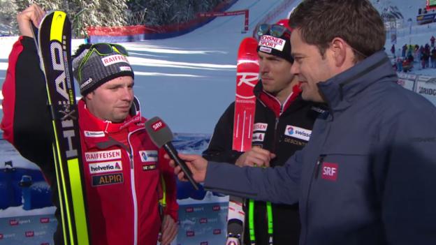Video «Ski Alpin: Abfahrt Wengen, Janka und Feuz im Interview» abspielen