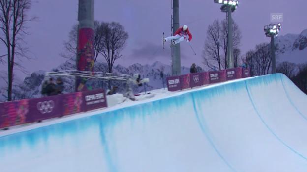 Video «Ski Freestyle: Halfpipe Frauen, 1. Qualifikations-Run von Mirjam Jäger (sotschi direkt, 20.02.2014)» abspielen