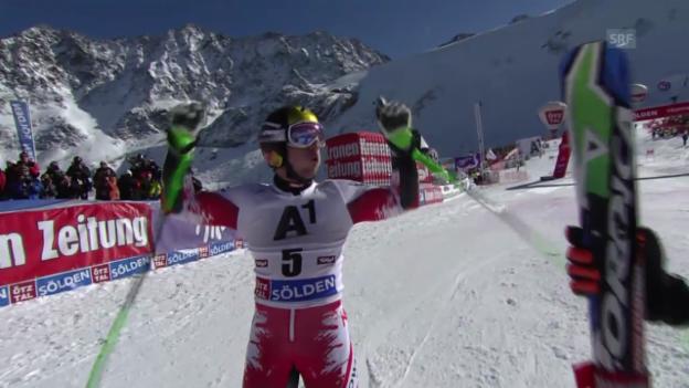 Video «Ski: Weltcup, Riesenslalom Sölden, Hirscher siegt» abspielen