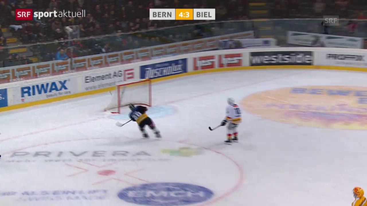Eishockey: Bern-Biel, Pluess verfehlt leeres Tor