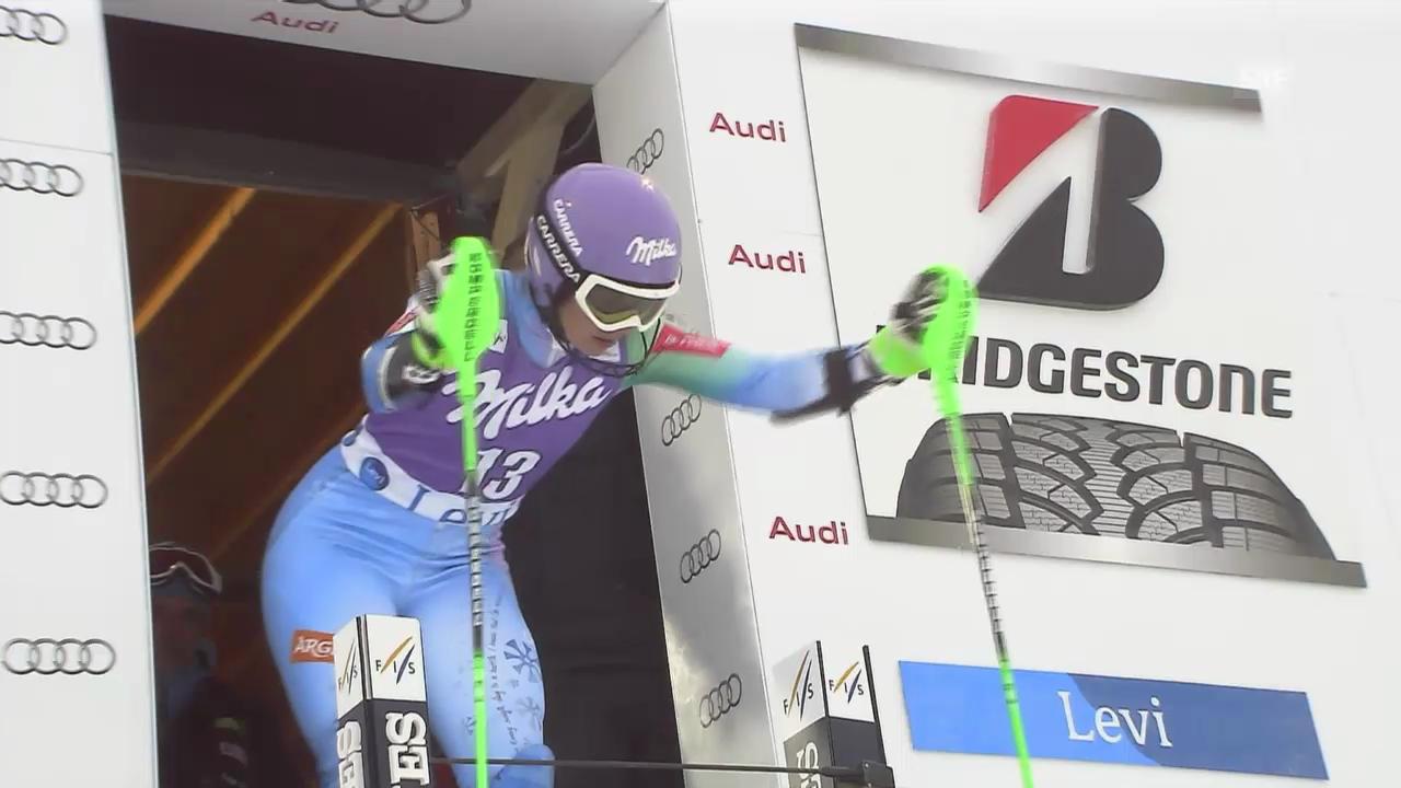 Ski Alpin: Tina Maze in Führung nach 1. Lauf