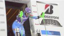 Video «Ski Alpin: Tina Maze in Führung nach 1. Lauf» abspielen