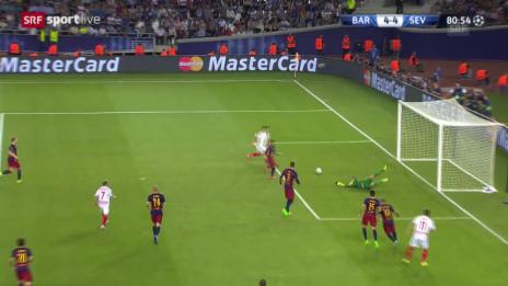 Video «Fussball: Supercup, Barcelona - Sevilla, 4:4 Konoplyanka» abspielen