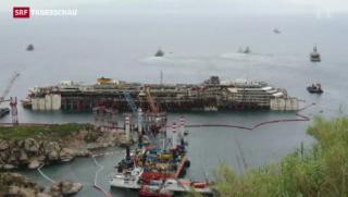 Video «Costa Concordia zum Abschleppen bereit gemacht» abspielen