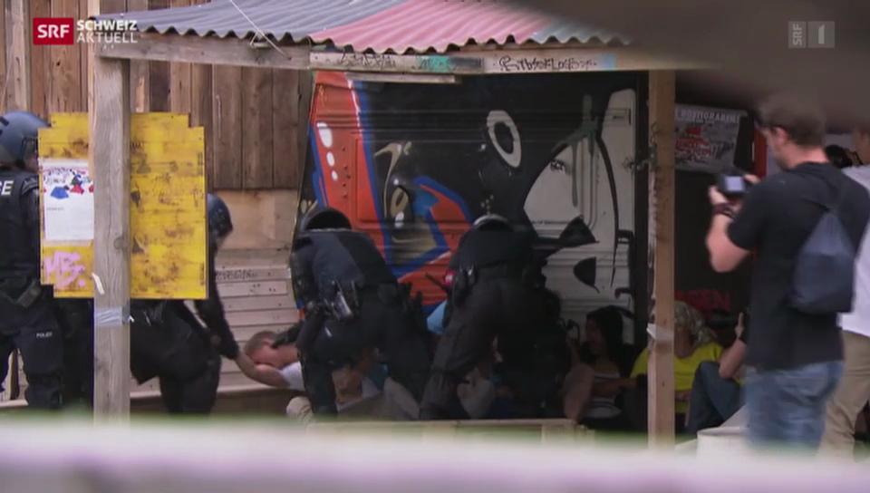 Basler Polizei räumt besetztes Wagenareal
