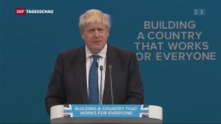 Video «Britischer Aussenminister Johnson bei Parteitag unerwartet zahm» abspielen