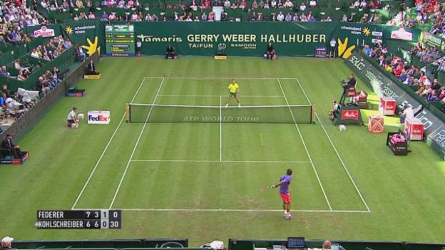 Video «Tennis: ATP Halle, Federer - Kohlschreiber: Erst die Beleidigung - dann der Zauberschlag» abspielen