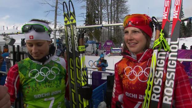 Video «Langlauf: Interview mit Bettina Gruber und Seraina Boner (sotschi direkt, 19.02.2014)» abspielen