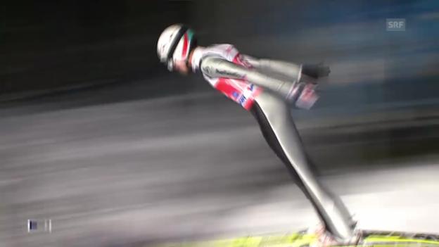 Video «Skispringen: Vierschanzentournee, Quali-Sprung von Ammann in Oberstdorf» abspielen