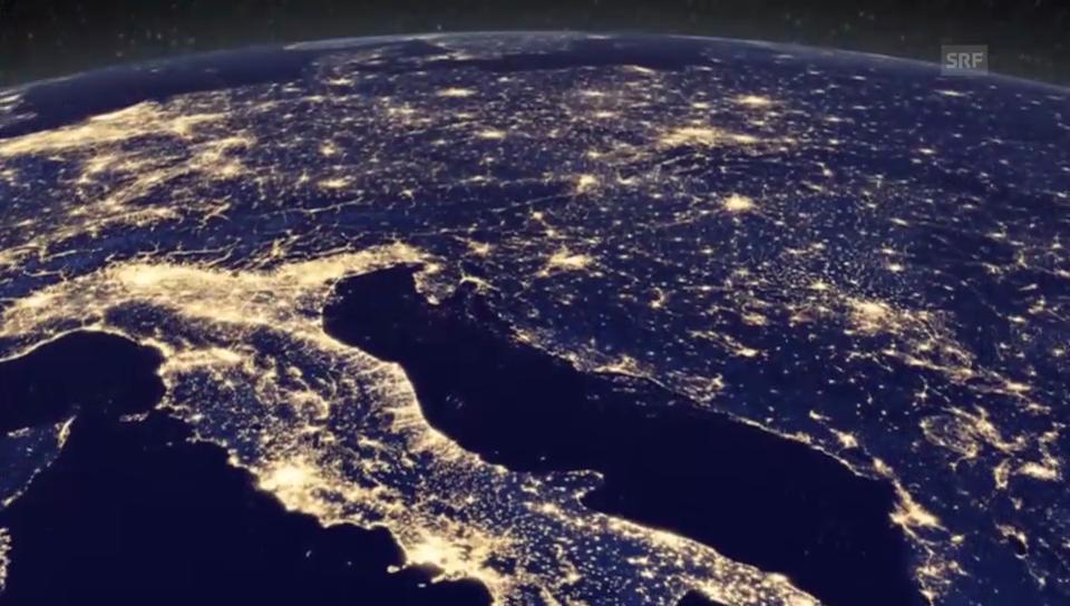 Weihnachtsbeleuchtung aus dem All (Quelle: youtube/NASA Goddard)