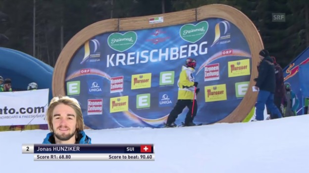 Video «Freeski: Freestyle-WM – Slopestyle 2. Final-Lauf Jonas Hunziker» abspielen
