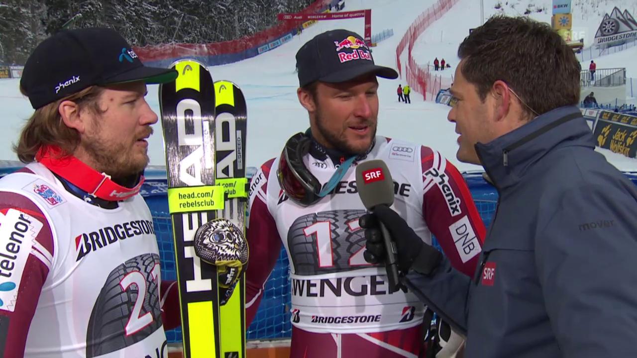 Kjetil Jansrud und Aksel Svindal treten nach der Super-Kombi gemeinsam zum Sieger-Interview an