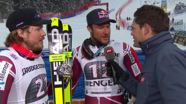 Video «Kjetil Jansrud und Aksel Svindal treten nach der Super-Kombi gemeinsam zum Sieger-Interview an» abspielen