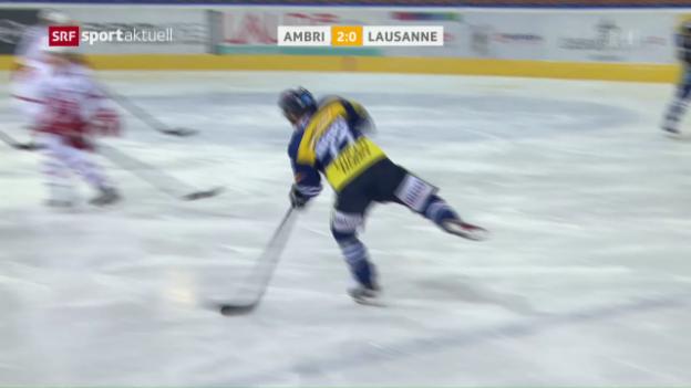 Video «Ambri schlägt Lausanne knapp» abspielen