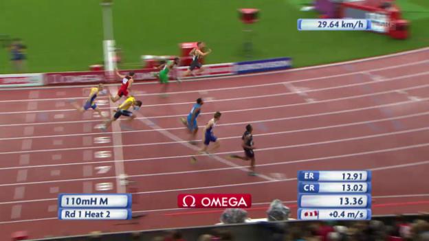 Video «LA: Tobias Furer im Vorlauf über 110 m Hürden» abspielen