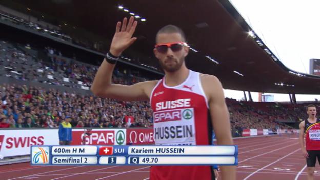 Video «Leichtathletik-EM: Kariem Hussein gewinnt den Halbfinal über 400 m Hürden» abspielen