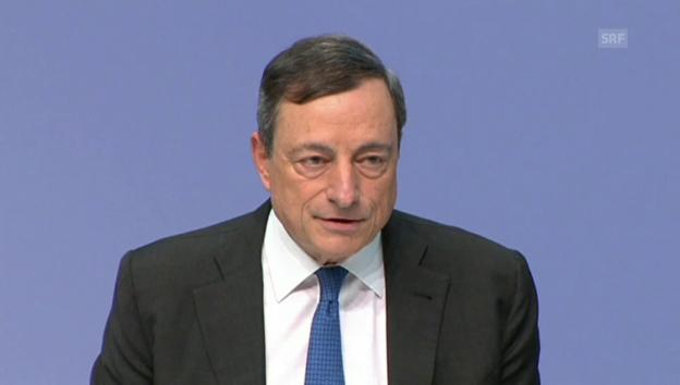 Video «Draghi über die Erhöhung der Notkredite (englisch)» abspielen
