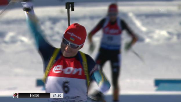 Video «Biathlon: WM in Kontiolahti, Massenstartrennen der Frauen» abspielen