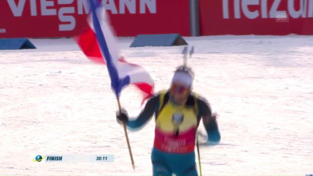 Video «Fourcade ungefährdet – Bö verweist Björndalen auf den Bronzeplatz» abspielen
