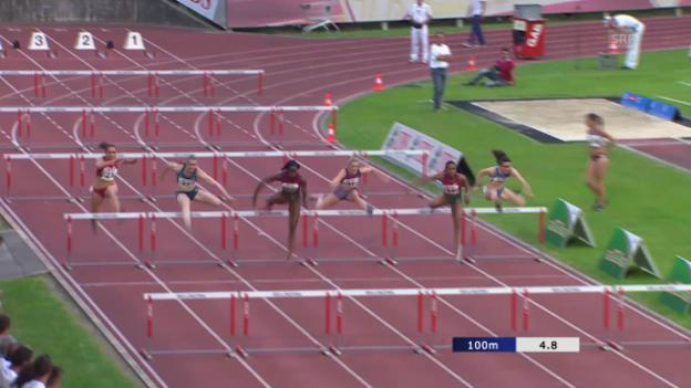 Video «Leichtathletik: Meeting Bellinzona, 100 m H, Final» abspielen
