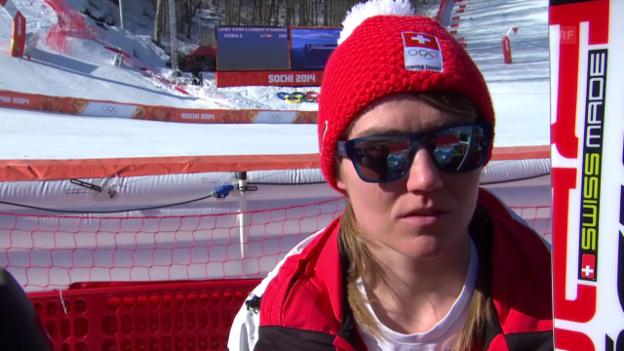 Video «Ski Alpin: Super-G Sotschi, Interview Fabienne Suter (sotschi direkt, 15.2.2014)» abspielen