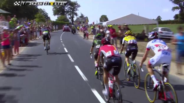 Video «Rad: Tour de France, 13. Etappe, Angriff Haas» abspielen