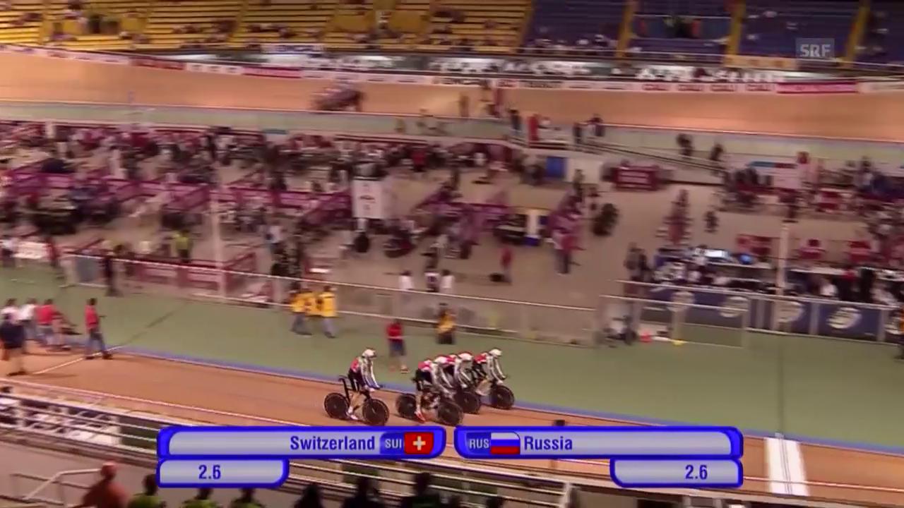 Rad: Bahn-Vierer-Weltcup 2015, Final Schweiz-Russland in Cali