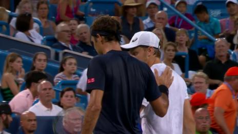Link öffnet eine Lightbox. Video Federer - Goffin: Die Livehighlights abspielen