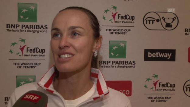 Video «Martina Hingis nach dem Halbfinal-Einzug im Fed Cup» abspielen
