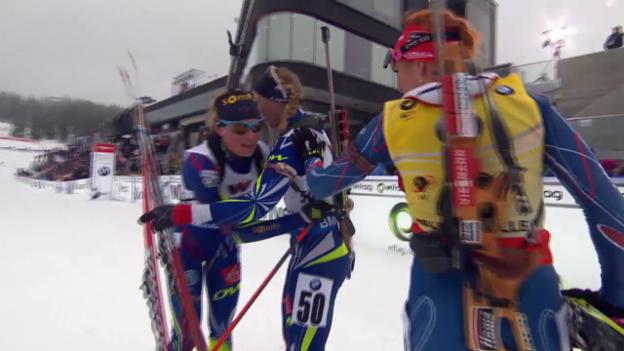Video «Die Zielankunft beim 15-km-Wettkampf in Oslo» abspielen