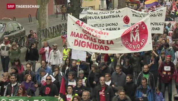 Video «Tausende folgen Demonstrationsaufruf in Spanien» abspielen