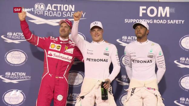 Video «Bottas holt die Pole Position in Bahrain» abspielen